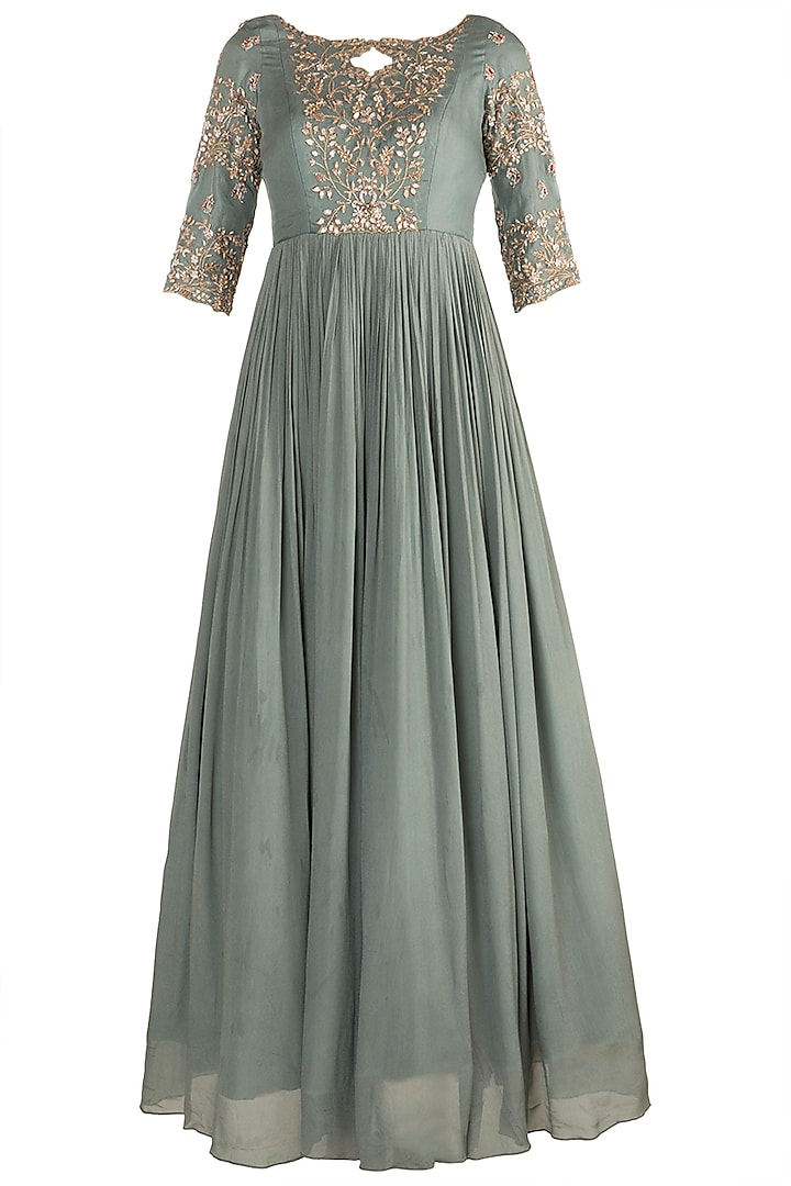 Aqua Blue Embroidered Anarkali With Printed Dupatta by Pleats by Kaksha & Dimple