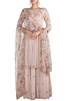 Blush Pink Printed Embellished Tunic Set by Pleats by Kaksha & Dimple