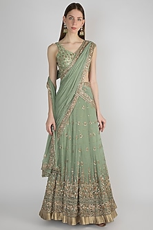 Green Embroidered Bridal Lehenga Set by Pleats by Kaksha & Dimple