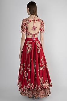 Red Bridal Lehenga Set by Pleats by Kaksha & Dimple