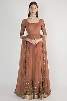 Brown Embellished Anarkali With Dupatta by Pleats by Kaksha & Dimple