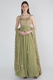 Pastel Green Embellished Anarkali With Dupatta by Pleats by Kaksha & Dimple