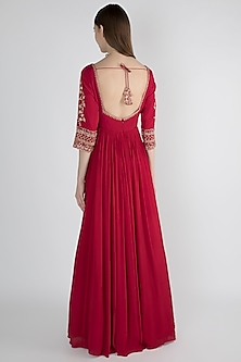 Scarlet Red Embroidered Anarkali With Dupatta by Pleats by Kaksha & Dimple