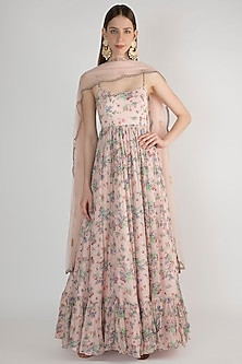 Pale Pink Floral Printed Anarkali WIth Dupatta by Pleats by Kaksha & Dimple