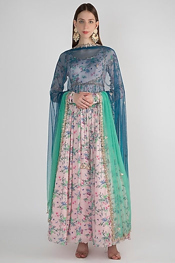 Pale Pink Anarkali With Shaded Blue Dupatta by Pleats by Kaksha & Dimple