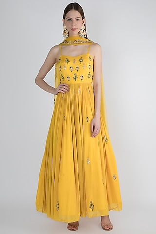 Yellow Embellished Anarkali With Dupatta by Pleats by Kaksha & Dimple