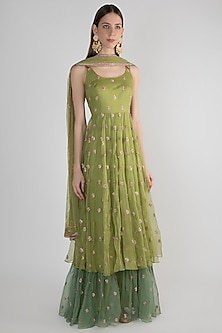 Green Embellished Jute Anarkali With Dupatta by Pleats by Kaksha & Dimple-SHOP BY STYLE