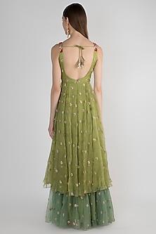 Green Embellished Jute Anarkali With Dupatta by Pleats by Kaksha & Dimple
