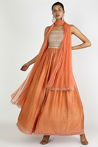 Orange Embroidered Anarkali With Dupatta by Pleats By Kaksha & Dimple