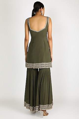 Olive Green Embroidered Sharara Set by Pleats By Kaksha & Dimple