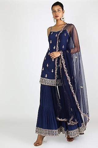 Cobalt Blue Embroidered Sharara Set by Pleats By Kaksha & Dimple
