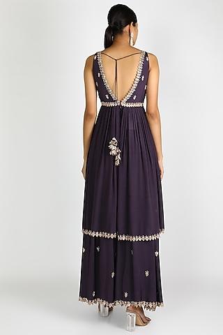Purple Embroidered Sharara Set by Pleats By Kaksha & Dimple