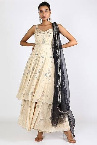 Ivory Embroidered Sharara Set by Pleats By Kaksha & Dimple