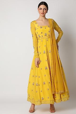 Pineapple Yellow Zardosi Embroidered Anarkali Set by Pleats By Kaksha & Dimple