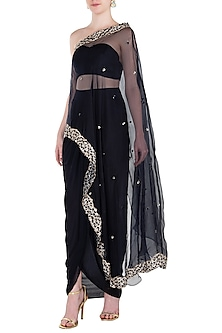 Black Embroidered One Shoulder Cape with Bustier and Palazzo Pants by Pleats by Kaksha & Dimple