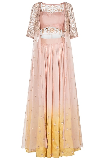 Pink and Yellow Embroidered Lehenga with Jacket by Pleats by Kaksha & Dimple