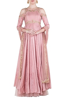 Pink Cold Shoulder Embroidered Anarkali Gown Set by Pleats by Kaksha & Dimple