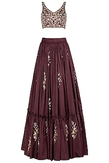 Burgundy Embroidred Lehenga Set by Pleats by Kaksha & Dimple