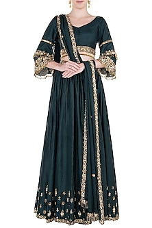 Pine Green Embroidered Lehenga Set by Pleats by Kaksha & Dimple