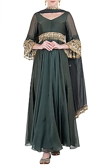 Green Embroidered Anarkali Gown Set by Pleats by Kaksha & Dimple