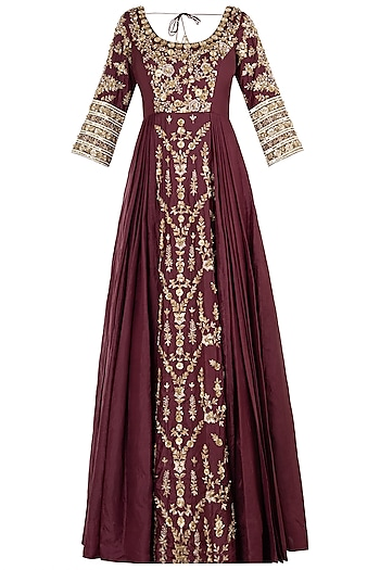 Grape Embroidered Anakali Gown Set by Pleats by Kaksha & Dimple