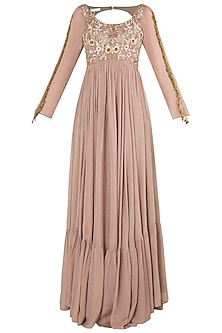 Peach and Brown Embroidered Anarkali Gown Set by Pleats by Kaksha & Dimple
