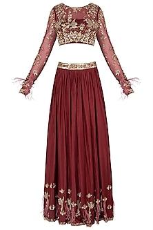 Maroon Embroidered Lehenga Set by Pleats by Kaksha & Dimple