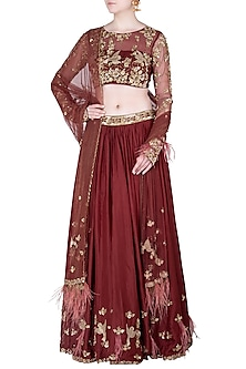 Maroon Embroidered Lehenga Set by Pleats by Kaksha & Dimple