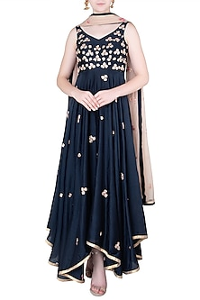 Blue High Low Embroidered Anarkali Gown Set by Pleats by Kaksha & Dimple