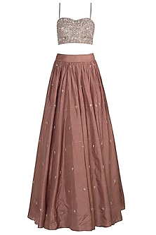 Rose Brown Embroidered Lehenga Set by Pleats By Kaksha & Dimple