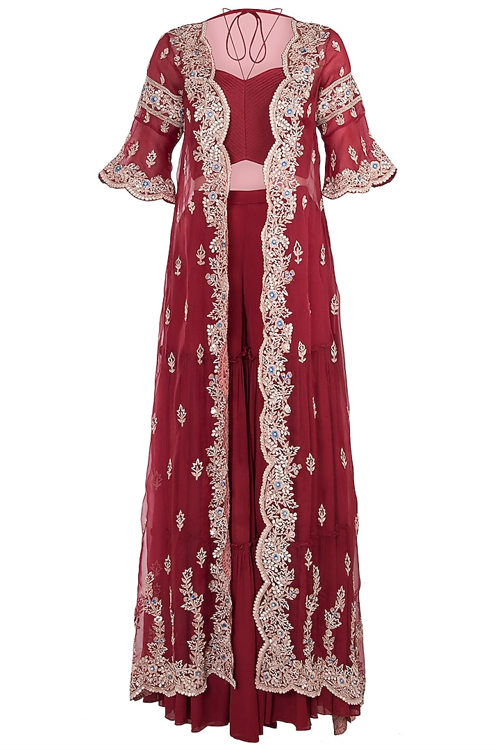 Red Embroidered Cape with Crop Top and Palazzo Pants by Pleats By Kaksha & Dimple