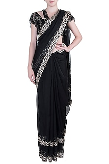 Black Embroidered Saree with Blouse by Pleats By Kaksha & Dimple