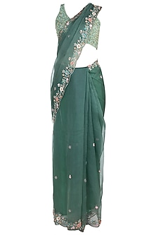 Green Embroidered Saree with Blouse by Pleats By Kaksha & Dimple