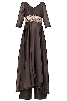 Dark Gray Quater Sleeves Tunic with Embroidered Motifs and Matching Pallazo In Chanderi Silk by Pleats by Kaksha & Dimple