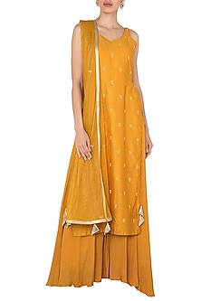 Yellow Tunic and Matching Pallazo In Chanderi Silk by Pleats by Kaksha & Dimple