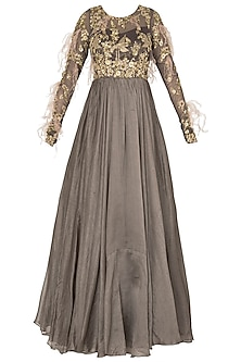 Dark Gray Anarkali with Feather, Cutdana and Bead Work In Chanderi Silk and Shimmer Net by Pleats by Kaksha & Dimple