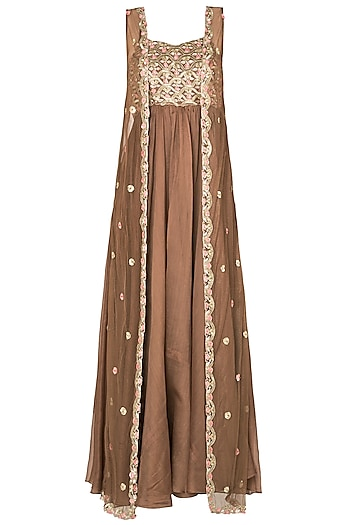 Brown Embroided Bootis Tunic with Sequined Sleeveless Jacket by Pleats by Kaksha & Dimple