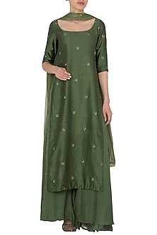 Pine Green Sleeveless Tunic with A Matching Pallazo In Chanderi Silk.  by Pleats by Kaksha & Dimple