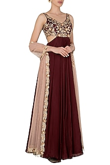 Maroon Sleeveless Anarkali with Cutout Detailing by Pleats by Kaksha & Dimple