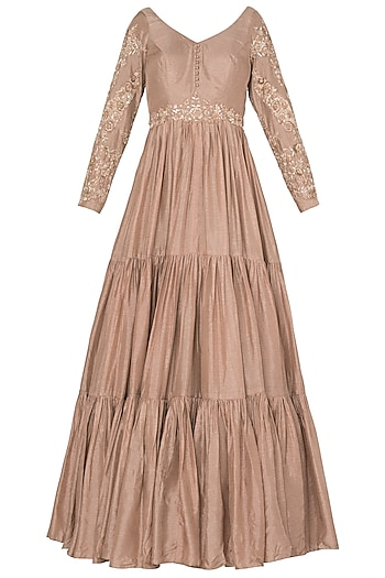 Salmon Pink Fringe Sleeves Anarkali Set In Crepe Georgette by Pleats by Kaksha & Dimple
