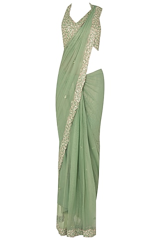 Seaglass Green Sequin Sari Set In Raw Slik and Shimmer Net by Pleats by Kaksha & Dimple