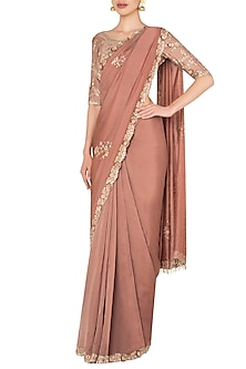Tea Rose Pink Sari Set with Embroidered Sleeves by Pleats by Kaksha & Dimple