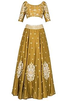 Mustard Lehenga with Quater Sleeves Blouse In Chanderi Silk. by Pleats by Kaksha & Dimple