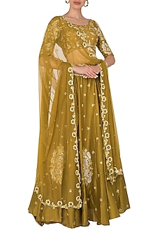 Mustard Lehenga with Quater Sleeves Blouse In Chanderi Silk. by Pleats by Kaksha & Dimple