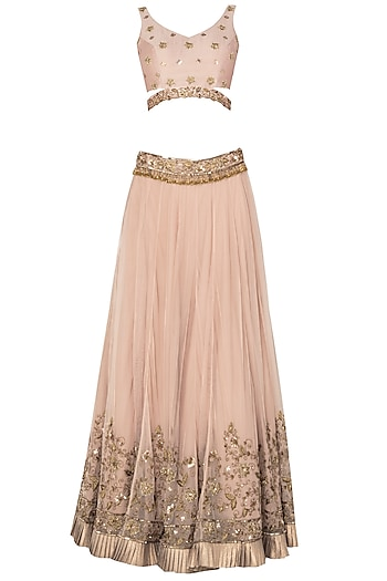 Blush Pink Net Frill Lehenga by Pleats by Kaksha & Dimple