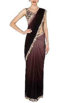 Black and Purple Dual Shaded Sari In Flat Chiffon and Pure Silk by Pleats by Kaksha & Dimple