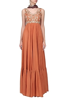 Orange and Maroon Embroidered Anarkali Set by Pleats by Kaksha & Dimple