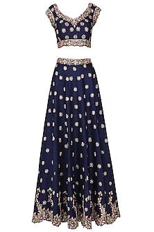 Royal Blue Embroidered Lehenga Set by Pleats by Kaksha & Dimple
