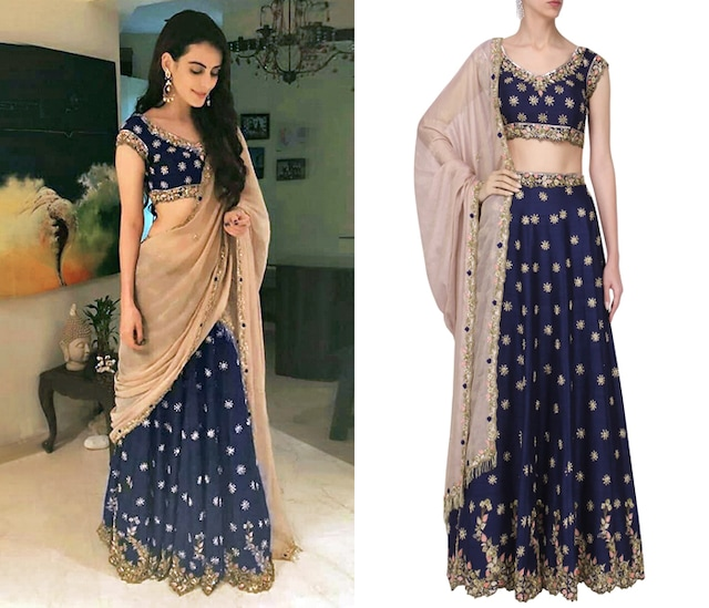 Royal Blue Embroidered Lehenga Set by Pleats by Kaksha & Dimple