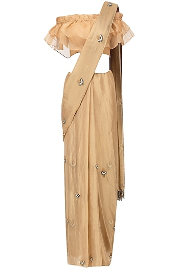 Gold Embroidered Saree with Orange Blouse by Pleats by Kaksha & Dimple